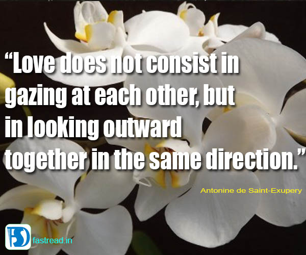 Love does not consist in gazing at each other, but in looking outward